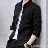 男士襯衫長袖韓版休閒襯衣服潮流加絨保暖牛仔白寸衫秋季男裝外套 時尚潮流