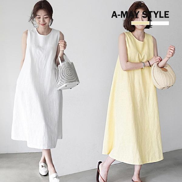加大碼洋裝-簡約感棉麻無袖過膝連身裙(S-XL)