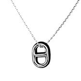 【HERMES】O'Maillon 皮革及金屬豬鼻項鍊(銀色/黑色) H079528CK89