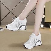 休閒運動鞋女 休閒鞋 夏季坡跟透氣單鞋女絲綢百搭新款內增高低幫鞋韓版女鞋子《小師妹》sm4856