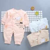 嬰兒鋪棉蝴蝶裝 新生兒繫帶內搭連身棉衣