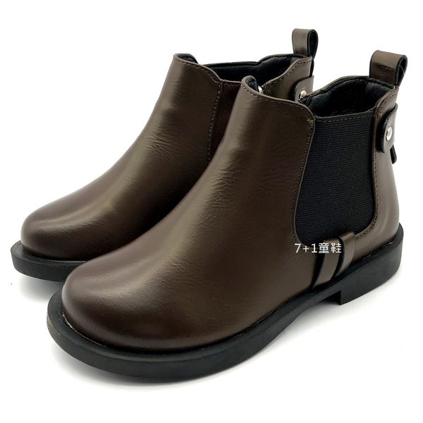 《7+1童鞋》時尚簡約 皮面好整理 休閒好穿搭 皮質馬靴 中筒靴 A760 咖啡色