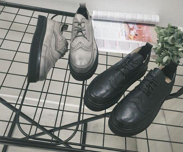 時尚街頭復古雕花英倫低幫休閒皮鞋 板鞋