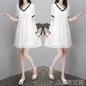 洋裝夏裝女新款V領娃娃裙網紗裙寬鬆顯瘦遮肉小個子a字氣質連身裙 快速出貨