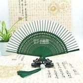摺扇 中國風復古翠竹雕花空白繪畫扇杭州真絲折扇 女式 古風 卡菲婭