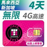 【TPHONE上網專家】新加坡/馬來西亞 無限4G高速上網卡 4天 不降速