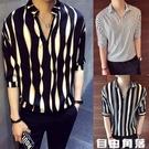 男短袖t恤 半袖條紋短袖T恤 個性V領 中袖 韓版潮流時尚冰絲短袖上衣 自由角落