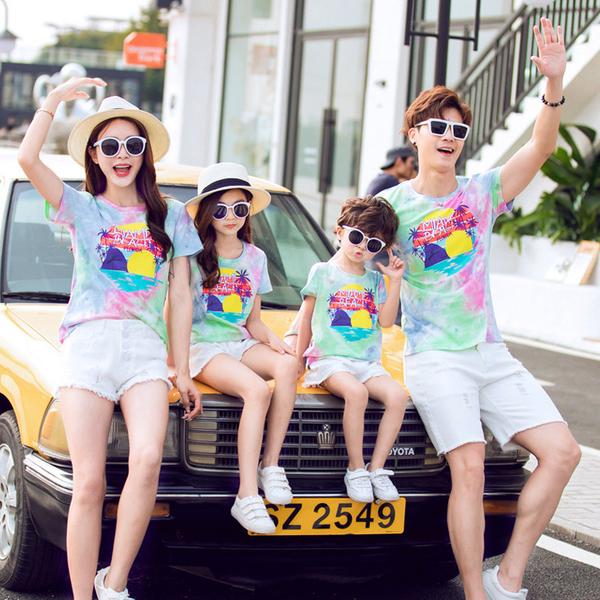 炫彩渲染渡假風短袖上衣親子裝情侶裝(小孩)