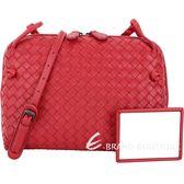 BOTTEGA VENETA 小型手工編織羊皮斜背包(紅色) 1440240-54