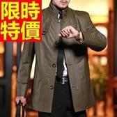 真皮風衣-優質質感歐美精緻長版男皮衣大衣2款62x50【巴黎精品】
