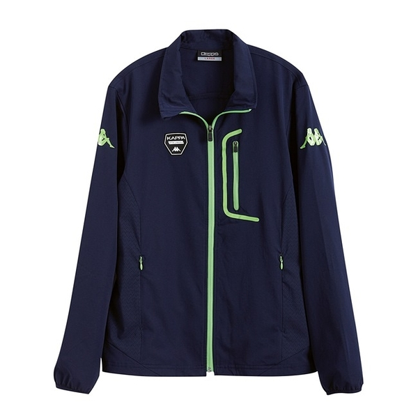 KAPPA義大利時尚平織四面彈慢跑風衣外套(合身版可拆帽) 新丈青 蘋果綠