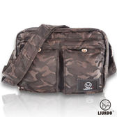 ~禾雅~LIUKOO 戰地叢林迷彩系列雙口袋 防潑水小容量側背包~ 棕~