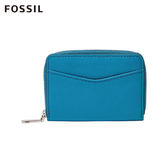 FOSSIL Mini Wallet 湛藍天空 飽和藍色真皮RFID拉鍊零錢包