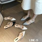 包頭半拖鞋女外穿2021夏季新款時尚粗跟鉚釘尖頭涼拖女中跟懶人鞋 【雙十同慶 限時下殺】