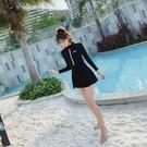 游泳衣女保守連身20新款韓國顯瘦遮肚溫泉大碼長袖仙女范學生運動 韓語空間