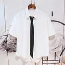 男士寬鬆領帶短袖dk制服jk襯衫純色垂感日韓風痞帥夏季潮流襯衣服 依凡卡時尚