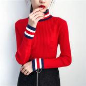 韓國包芯紗條紋打底衫半高領針織衫加厚毛衣J22-9005