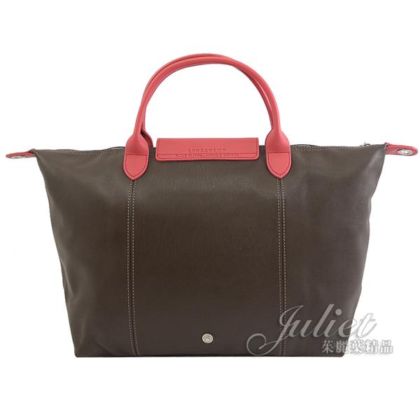 茱麗葉精品【全新現貨】Longchamp Le Pliage Cuir 撞色小羊皮兩用包.深咖#1515