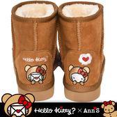 HELLO KITTY X Ann'S棕色熊熊精密彩色刺繡超短筒麂皮雪靴-棕
