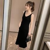 襯裙 2020春秋新款針織吊帶連衣裙女背心長裙中長款黑色內搭打底裙代發