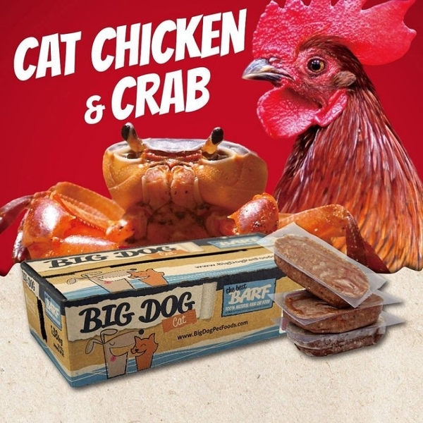 *KING WANG*【1盒12片入】澳洲BIG DOG(BARF)巴夫《貓用生食肉餅-雞蟹口味》 (買兩盒可免運)