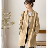 風衣女中長款簡約初秋上衣女韓版寬松學生純色百搭外套 快速出貨