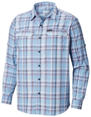 【Columbia】男UPF50快排長袖襯衫-藍