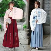 新款秋冬漢服女日常改良漢元素傳統古裝交領襦裙民族風廣袖演出服 降價兩天