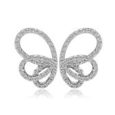 耳環 純銀鍍白金 鑲鑽-優雅蝴蝶生日情人節禮物女飾品73cr116【時尚巴黎】