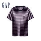 Gap男裝棉質舒適條紋短袖T恤537707-深藍條紋