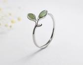 綠芽貓眼石指環韓版時尚個性開口食指戒子
