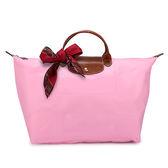 LONGCHAMP 短提把大型摺疊水餃(粉紅色-含帕巾)480102-058