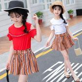 2018新款女童套裝夏季韓版洋氣短褲兩件套ZL709『黑色妹妹』