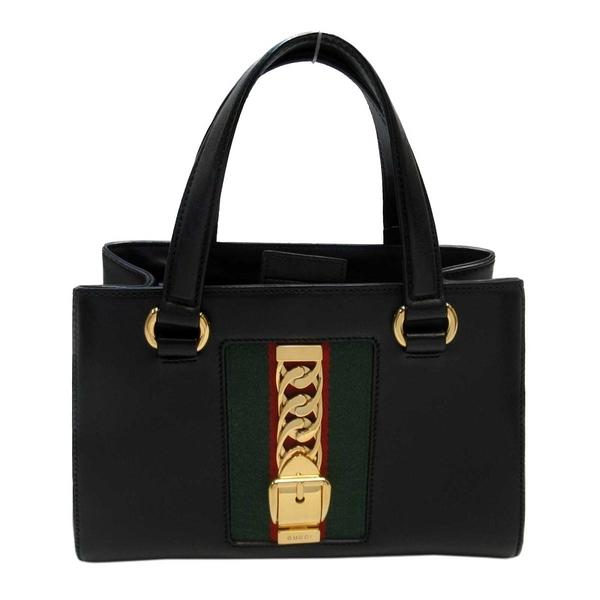 GUCCI 古馳 黑色牛皮藍紅背帶手提肩背包 Sylvie Medium Top Handle Bag 【BRAND OFF】
