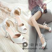 魚口涼鞋/韓版仙女夏新款貓跟小清新高跟鞋百搭蝴蝶結女鞋「歐洲站」