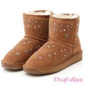 D+AF 冰雪奇緣.雪花燙鑽真皮短筒雪靴*駝
