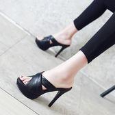 高跟涼鞋【大碼32-43】 新款細跟超防水台女涼拖鞋性感夜店外穿大碼 - 古梵希