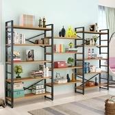 現代書架簡易置物架客廳書櫃鋼木組合儲物貨架簡約落地收納架鐵藝『優童屋』
