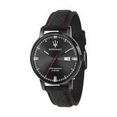 【Maserati 瑪莎拉蒂】ELEGANZA簡約百搭真皮腕錶-全黑款/R8851130001/台灣總代理公司貨享兩年保固