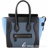 CELINE Micro Luggage 藍色珠地小牛皮拼接手提冏包 1830007-01