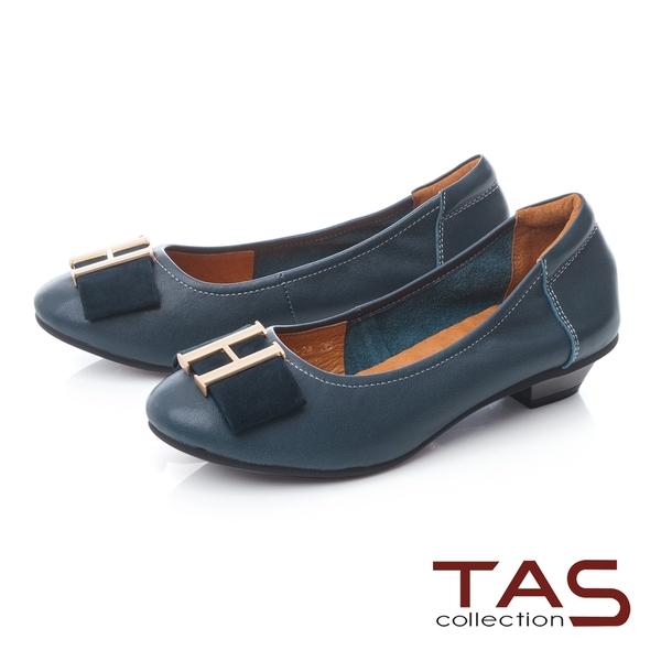 TAS金屬飾釦蝴蝶結拼接娃娃鞋-湖水藍
