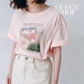Queen Shop【01038019】手繪感山脈印花短袖棉T 兩色售*現+預*