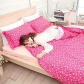 100%精梳純棉 雙人加大床包兩用被四件組 漫步花園