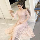 一字領洋裝 中袖露肩蕾絲連身裙韓版氣質修身顯瘦中長款超仙女裙子 巴黎春天