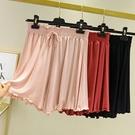 休閒短褲女寬鬆大碼高腰薄款五分純棉睡褲百褶裙運動夏莫代爾熱褲 小山好物