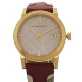 BURBERRY 巴寶莉 紅色皮革經典格紋腕錶 BU9111【二手名牌 BRAND OFF】