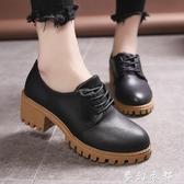 黑色小皮鞋女2020夏季新款復古粗跟女鞋韓版學生百搭中跟平底單鞋 雙十二全館免運