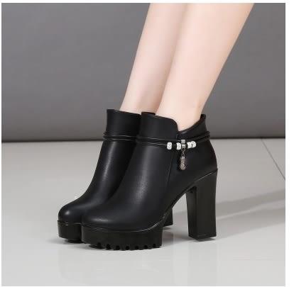 小鄧子歐美冬季新款粗跟棉靴高跟鞋馬丁靴女短靴防水台繫帶女靴短靴女鞋