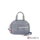 beside u BFYF 多口袋圖騰印花輕量側背包兩用包 – 藍灰色 原廠公司貨