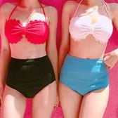 泳裝 比基尼 泳衣 波浪 花邊 高腰 顯瘦 兩件套 繞頸 泳裝【SF6642】 BOBI  03/22